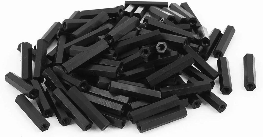 AUXcell Metric M6 x 1.0mm Nylon Hexagon Fastener Hex Full Nuts Black 100pcs