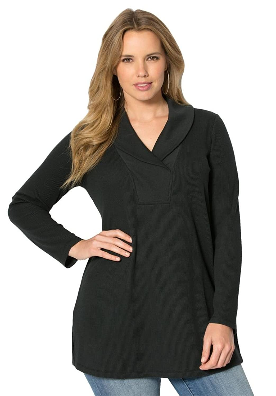 Roamans Women's Plus Size Thermal Shawl Tunic