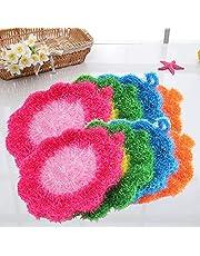 XINRY 1 st blomformad diskskrubbare svamp icke-repor skålar panna servis tvätt rengöringsduk skurkuddar hem kök verktyg
