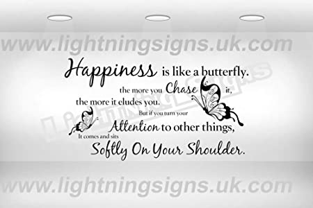 Happiness Is Like A Butterfly Quote Wall Art Sticker Decal Small