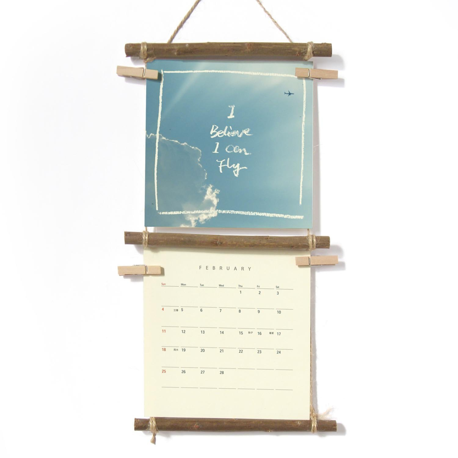 Cloud and Sky, 2018 Wall Calendar With handmade Ladder Shelf - Stocking Stuffer, Quote Print Calendar, Christmas Gift