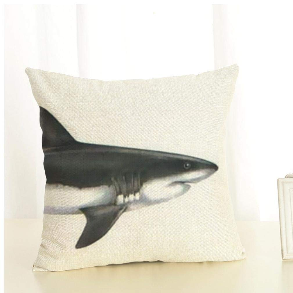 PiniceCore Creativa Tipo Partido de tibur/ón Patr/ón Fundas de Cojines Funda de Almohada de algod/ón de Lino Animales Cojines Decorativos