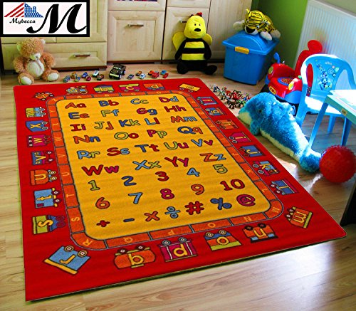 Kids Rug ABC Fun 3' X 5' Children Area Rug for Playroom & Nursery - Non Skid Gel Backing (39