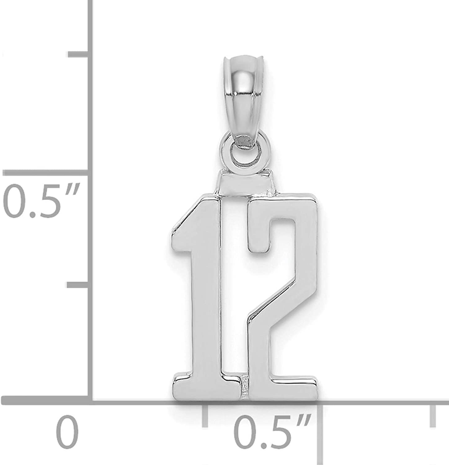 14K White Gold Polished Block Style Number 12 Charm Pendant