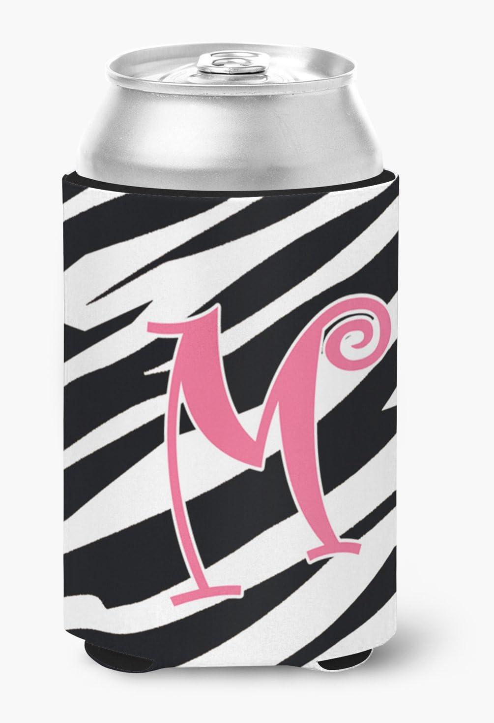 Caroline's Treasures CJ1037-MCC Letter M Initial Monogram - Zebra Stripe and Pink Can or Bottle Beverage Insulator Hugger, Can Hugger, multicolor