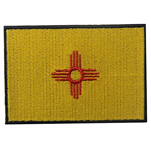 (New Mexico State Flag Embroidered Emblem Iron On Sew On NM Patch)