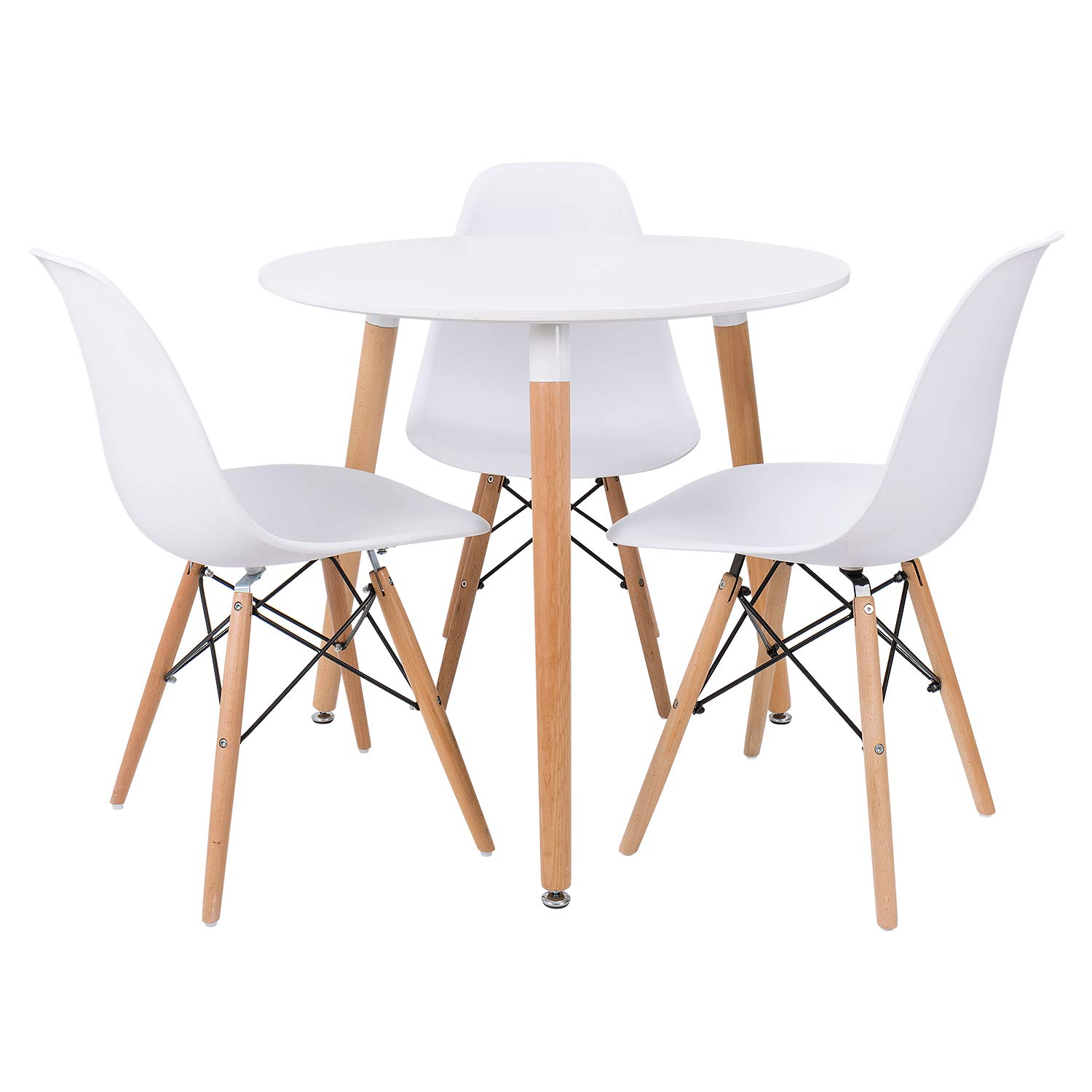 Furmax Kitchen Dining Table Modern Style Round Leisure Coffee Table,Office Coference Desk with Wood Legs for Kitchen Living Room (White) by Furmax (Image #3)