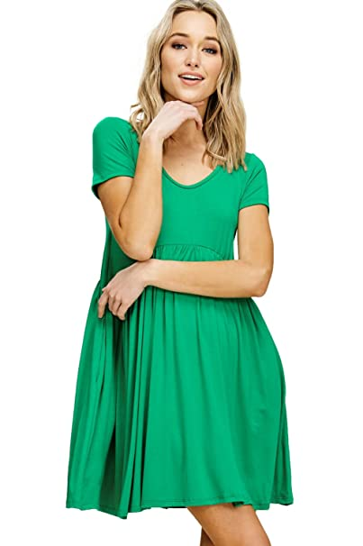 a39e94d6cf4192 Annabelle Women's Comfy Short Sleeve Scoop Neck Empire Waist Mini Dresses  with Pockets at Amazon Women's Clothing store: