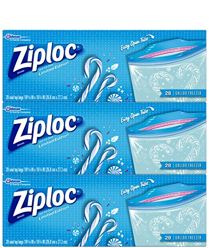 Ziploc Limited Edition Holiday Freezer Bags, Gallon, 84 Count