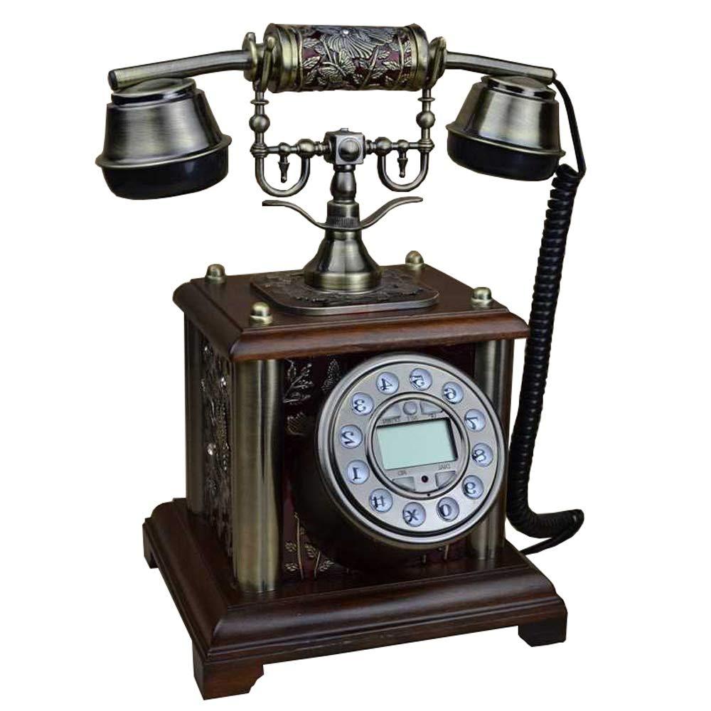GAOJIE 電話 電話/アンティーク電話/レトロファッション/ソリッドウッド製電話/固定電話 (色 : Brown) B07PBB7CLN Brown