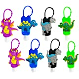 KINIA 8 Pack Kids Dinosaur Hand Sanitizer Travel Sized Keychain Carriers - 8-1 fl oz Flip Cap Reusable Portable Bottles (8-Variety Pack DINOSAUR)
