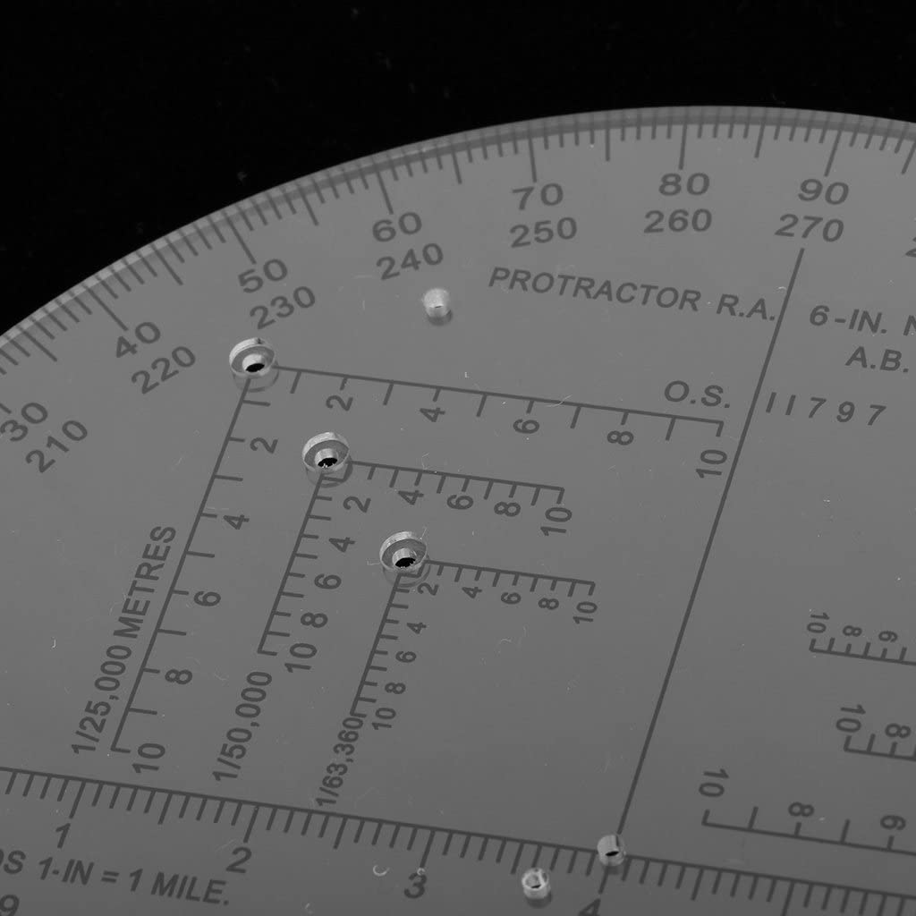 Milageto 6 Inch Plastic Clear Protractor 180 Degrees Measurement Toolfor Map Reading