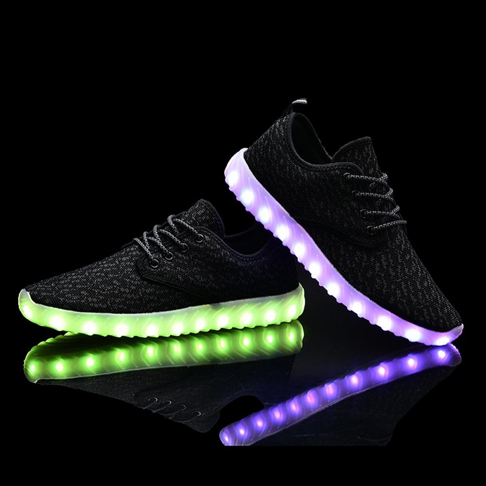 UNN Led Light Up Shoes for Men Women and Kids USB Charging Flashing Luminous Glowing Sneakers Black 41 by UNN (Image #4)