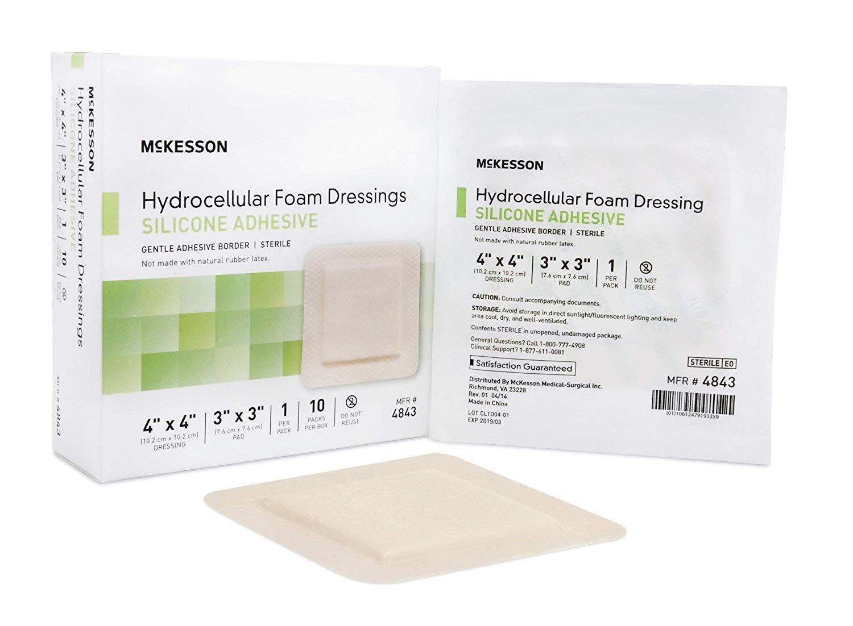 McKesson - Silicone Foam Dressing McKesson 4 X 4 Inch Square Adhesive with Border Sterile - 10/Box - McK by McKesson