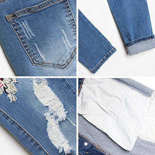 SANFASHION Vintage Crayon Fit Jeans Haute Collants Denim Skinny Bleu Slim Stretch Broderie Pants Leggings Pantalon Taille Broderie Femmes Rtro Hxq0OaFn