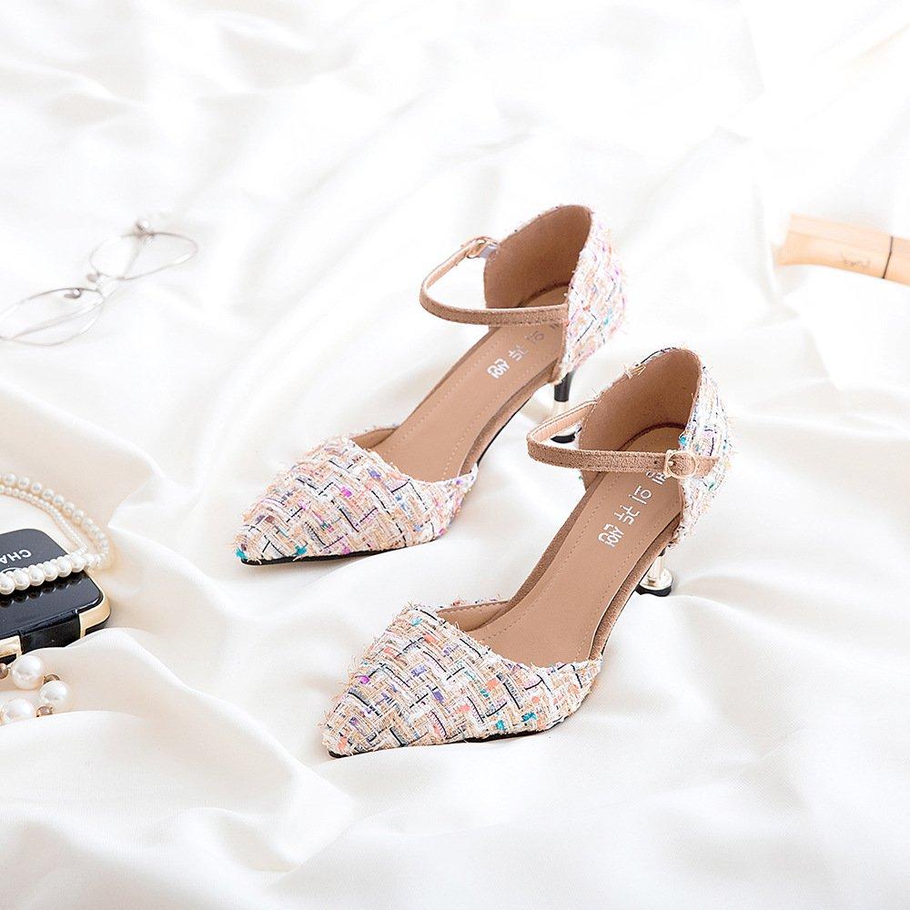 Tipp Des Schlank High-Heel Schuhe Damen Schuhe Schlank Des und elegant und vielseitig, Beige 7 Cm 36 - 5a1bd2