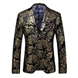 MAGE MALE Mens 2 Piece Golden Suit Slim Fit Formal Party Two-Button Blazer Jacket Pants Sets
