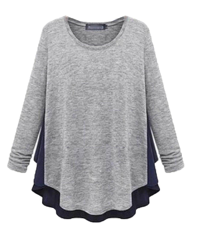 Zago Women Long Sleeve Knit Stitching Classic Blouse