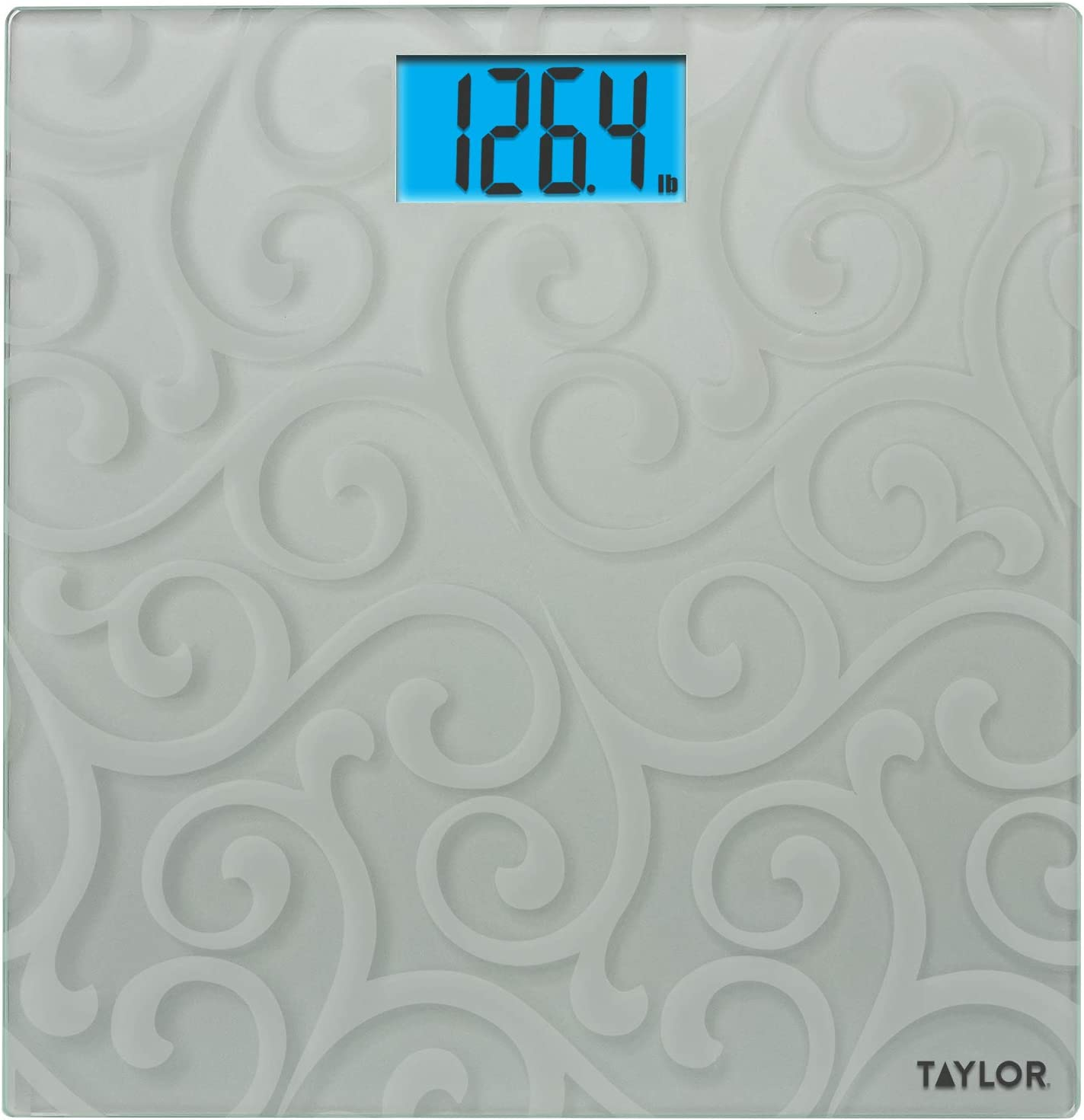 Taylor Precision Products Frosted Digital Glass Bath Scale, Silver