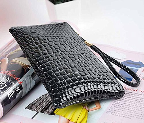 Handbag Leather Women Crocodile Bag Clutch Women Kinrui Purse Black Coin Purse FwEqpItY