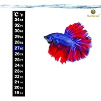 SunGrow Betta Sticker Thermometer - Ensure Optimum Comfort Around 78 Degrees - Accurately Measures Temperature - Large Font for Quick Reading - Keep Fish Healthy