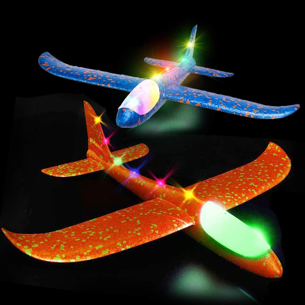 4 Pack Foam Airplane Glider Throwing Plane, 2P 14 Inch LED Light Up Flying Aircraft Jet+2P LED Light Up Toy Parachute Free Throwing Outdoor Sports Flying Toys Gift for Kids Toddlers Teens by Aufind (Image #2)