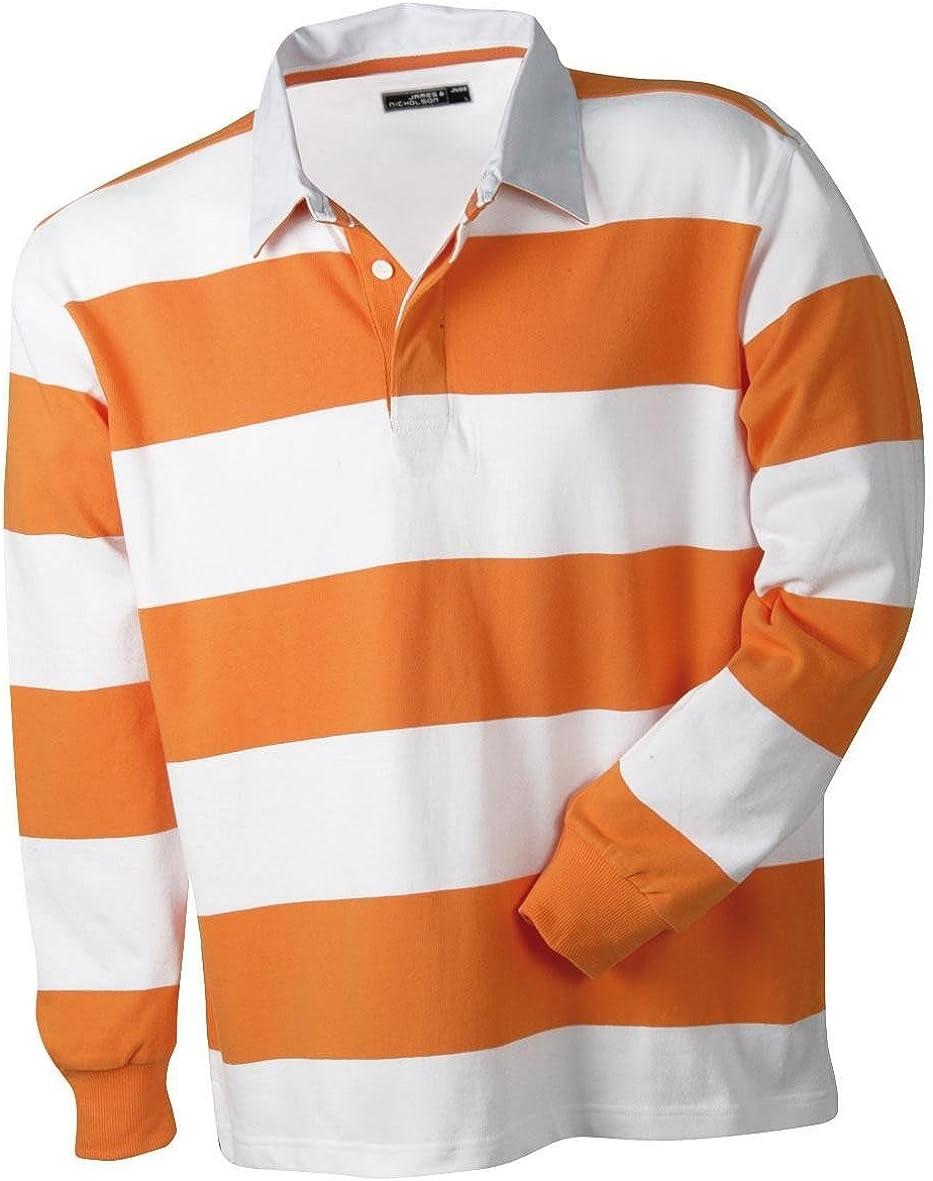 Camiseta polo de manga larga de B4088, de tela gruesa, en estilo de rugby naranja/blanco S: Amazon.es: Ropa y accesorios