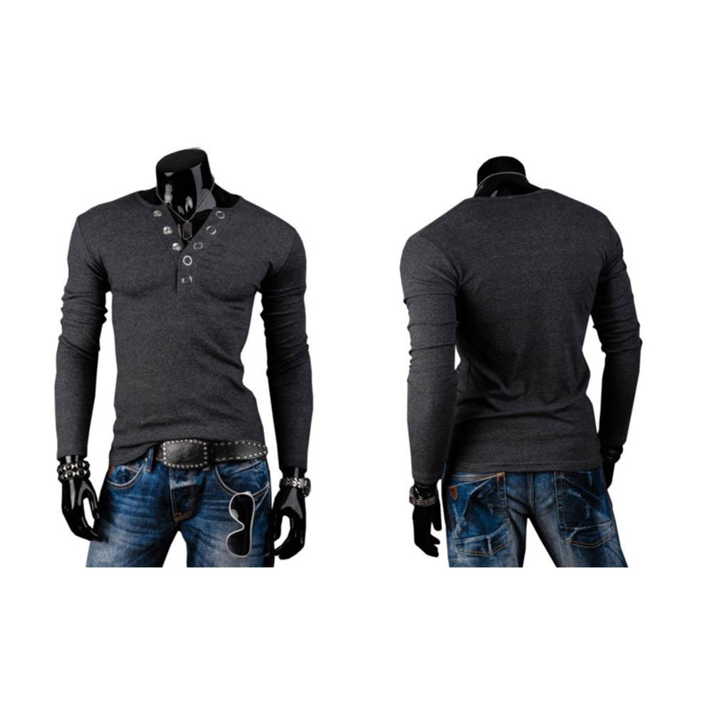 LEO BON Mens Pullover Knit Sweater Casual Long Sleeve Knit Cardigan V-Neck Button-up Slim Fit Pullover