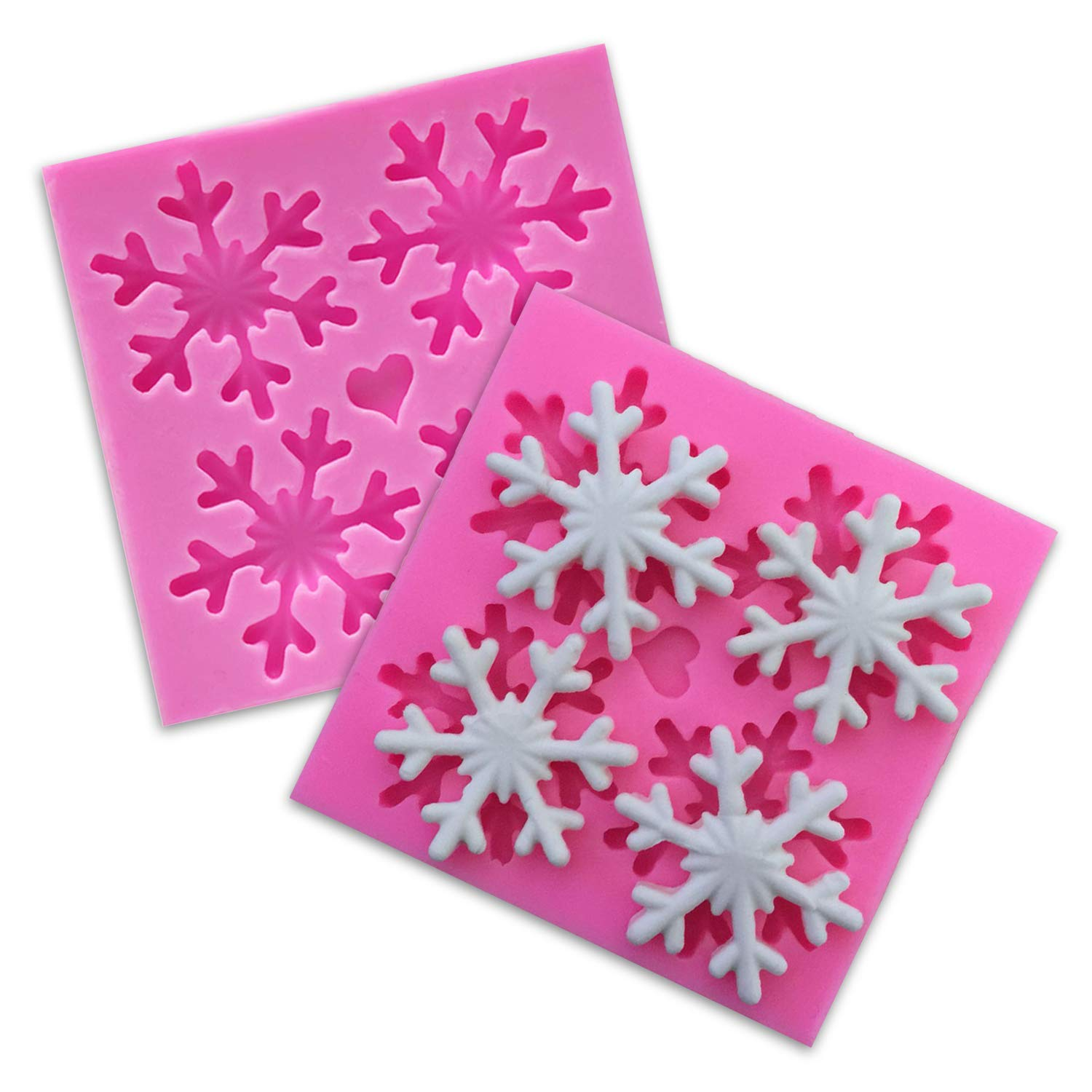 Snowflake Silicone Cake Mold - 2 Pack Christmas Silicone Cake Soap Handmade Mold 3D Fondant Mold BPA Free for Chocolate Candy Decoration, Cupcake & Cake Toppers, Party Decorations (Style A) Witkey