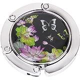 Accroche Sac Porte-Sac Crochet de Sac à Main Pliable Motif de Papillon et Fleur de Lotus