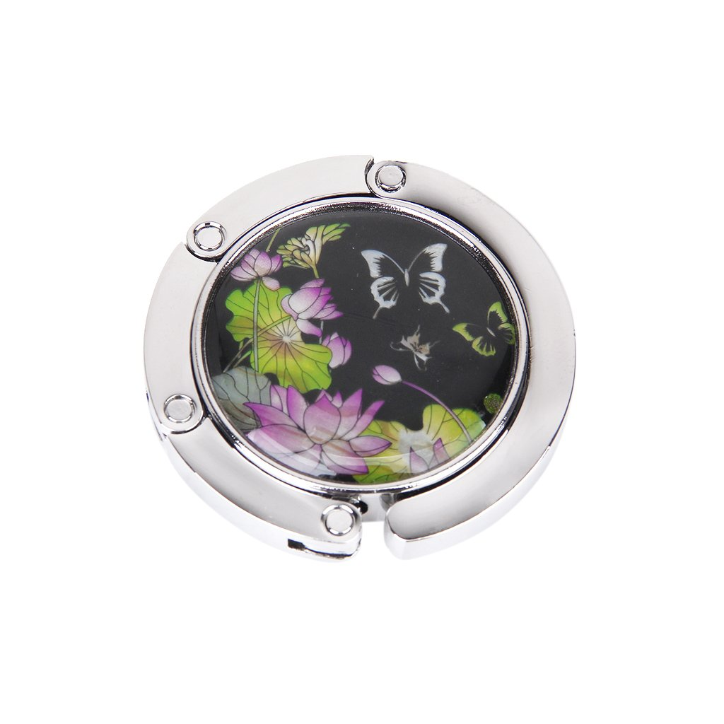 1 x Ladies' Folding Bag/Handbag/Purse Hook Hanger Holder---Butterfly + Lotus Flower Pattern BagCentre AEQW-WER-AW124954