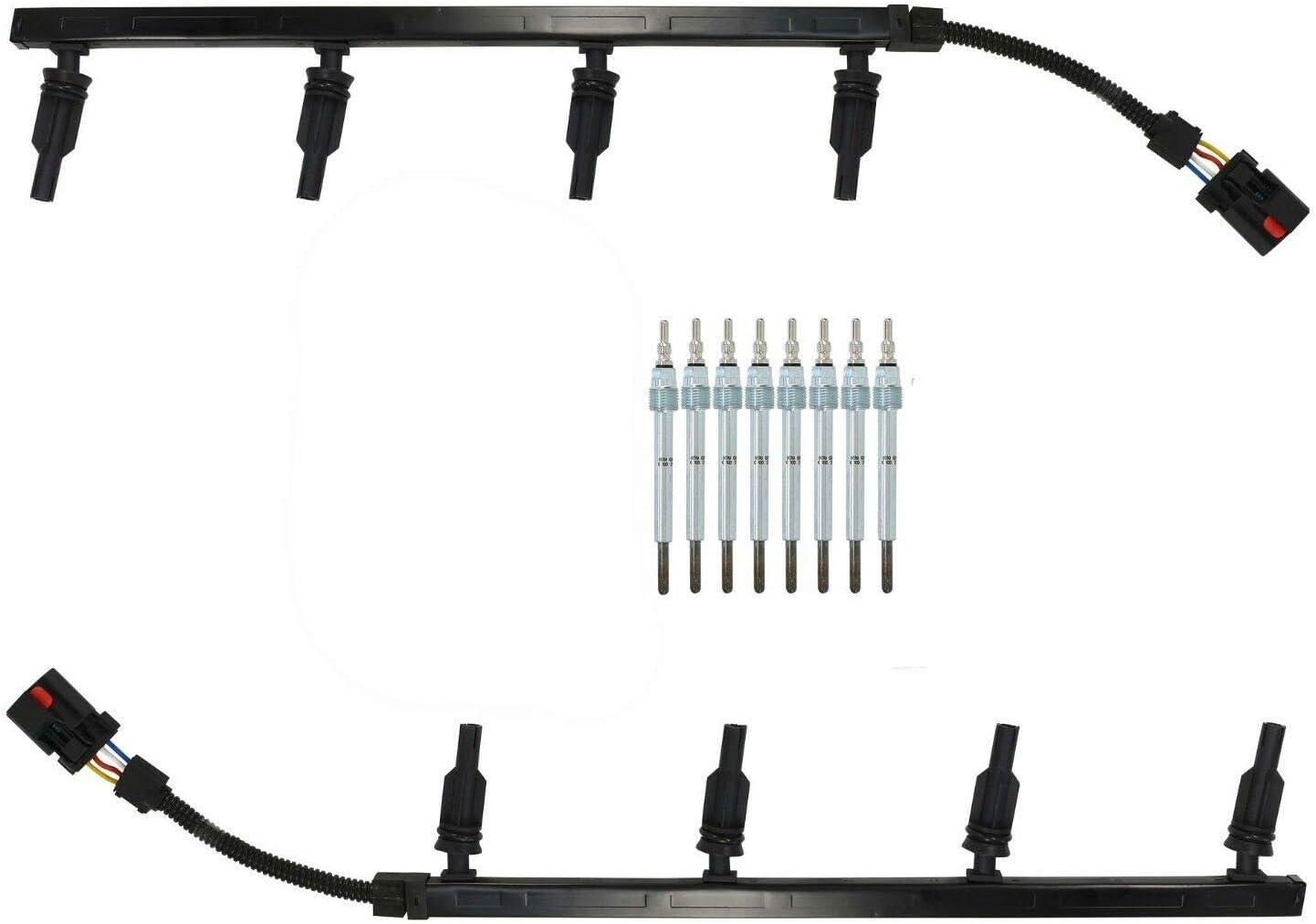8PC GLOW PLUGS /& WIRE HARNESS SET for 2003 F250 F350 F450 F550 6.0L POWERSTROKE