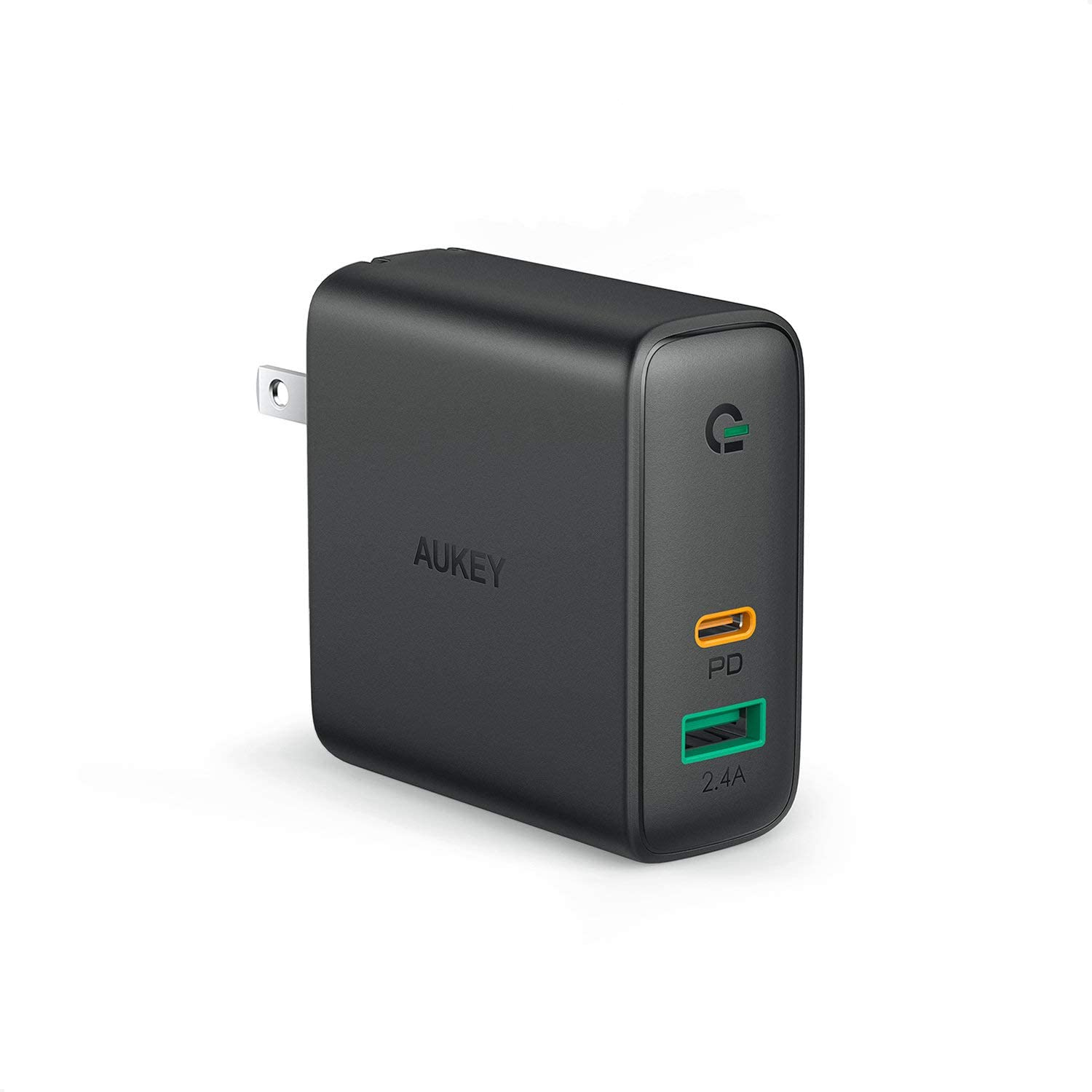 """AUKEY 60W PD Charger, USB C Wall Charger with Dynamic Detect & Power Delivery 3.0 [GaNTech] Fast USBCCharger for MacBook Pro 13"""", iPad Pro, iPhone 11 Pro Max, iPhoneSE, Pixel 4/4X, Airpods Pro"""