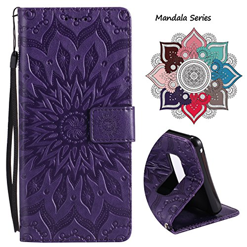 Wallet Leather Flip Case for Samsung Galaxy Note 8, Embossed Art Mandala Pattern with Kickstand Card Slots, Embedded Durable Magnetic Full Body Protective Case Cover for Galaxy Note 8 (2017) - Purple