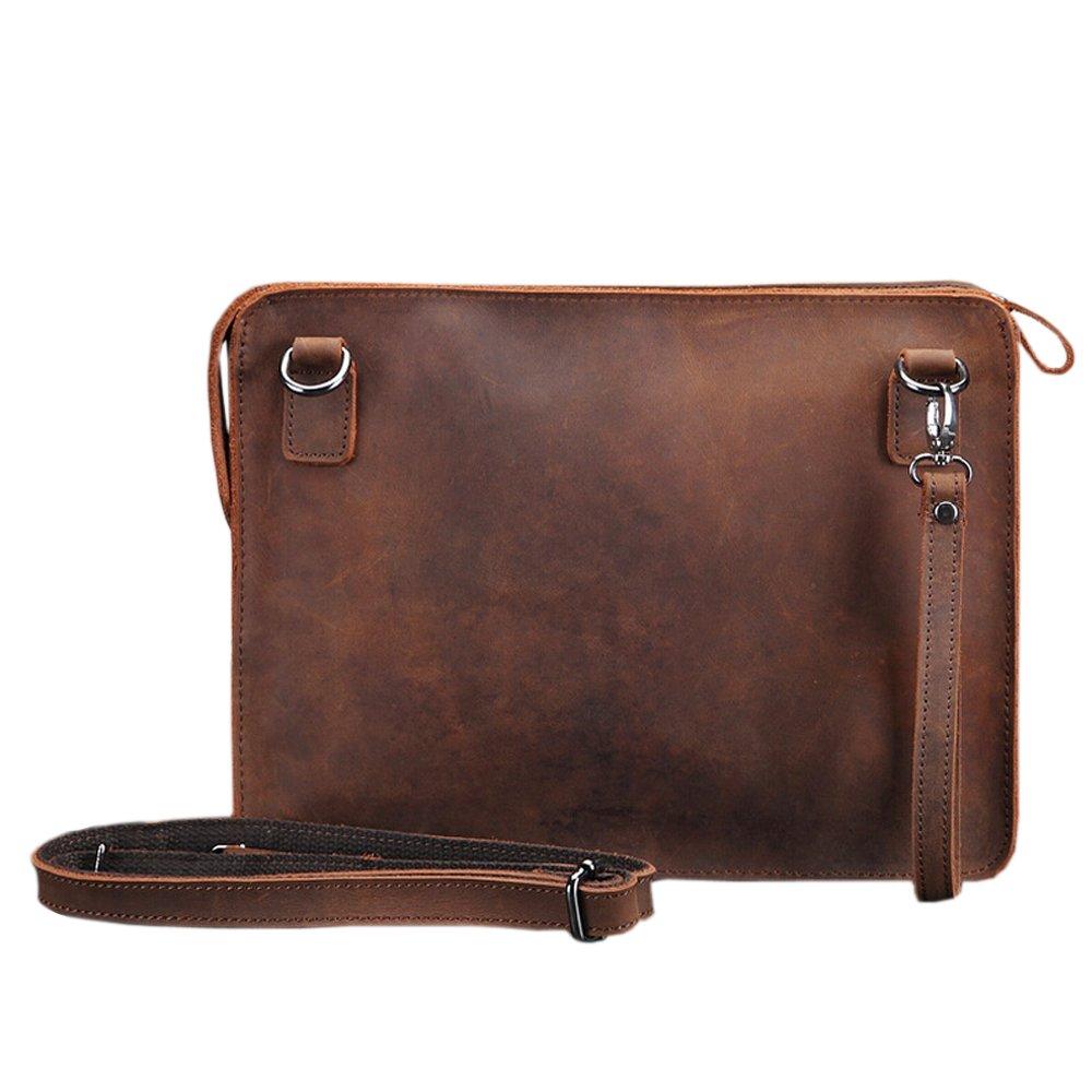 SEALINF Mens Leather Handbag Zipper Briefcase Shoulder Crossbody Messenger Bag (brown)