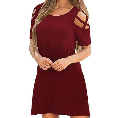 9d24b69bda7e Damen Kurzarm Kalte Schulter Swing T-Shirt Kleid mit Pocket Casual Cut Out  Cold Shoulder Minikleid Kurzes Kleid Criss Cross Schulterfrei Sommerkleid  ...