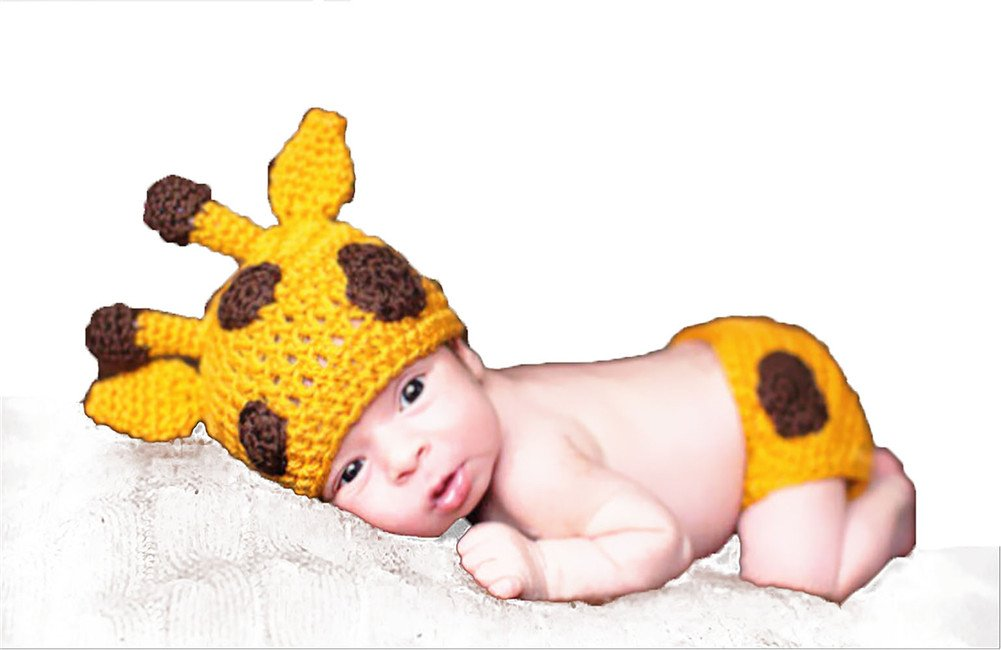 [Ciervo] Ropa de bebés Recien Nacido Conjunros de bebés Tejido a mano para Fotografía Atrezzoo (BBTZ, Ciervo Amarillo