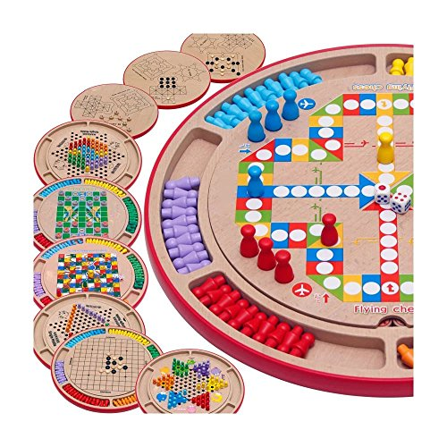 Kayiyasu カイヤス ダイヤモンドゲーム フライトチェス 五目ならべ 蛇と梯子 キツネとガチョウ ペグ・ソリテール ボードゲーム 多機能 木製おもちゃ 連珠 知育玩具 チェッカー 子ども 021-lzgy-d79522(直径35.5cm 約1500g )の商品画像