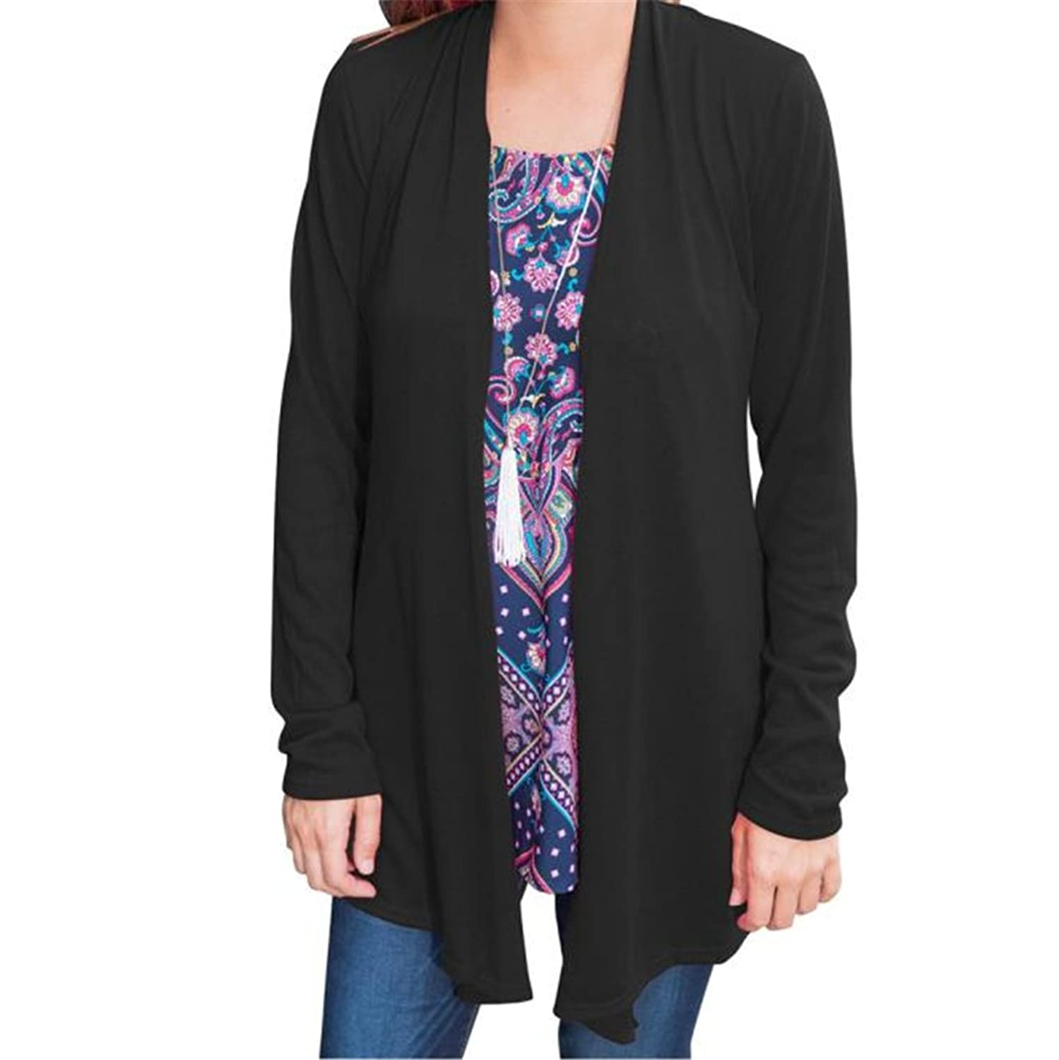 HN Fashion Cardigan Plus Size Solid Color Blouse For Women Long Sleeve
