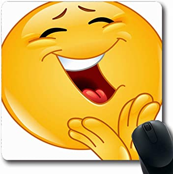 Mousepad Oblongando Aplaudiendo Amarillo Risa Alegre Emoticon ...