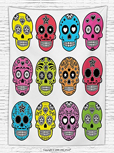 Skulls Decorations Fleece Throw Blanket Ornate Colorful Traditional Mexian Halloween Skull Icons Dead Humor Folk Art Print Throw Blanket for es Multi