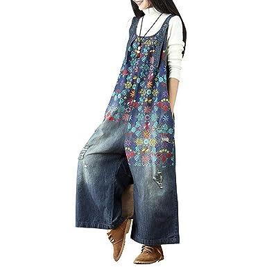 005fe1d175f3f Ziye Shop Women s Loose Floral Printed Baggy Denim Jumpsuit Casual Cotton Bib  Wide Leg Pants Plus Size Jeans Rompers (Color B) at Amazon Women s Clothing  ...