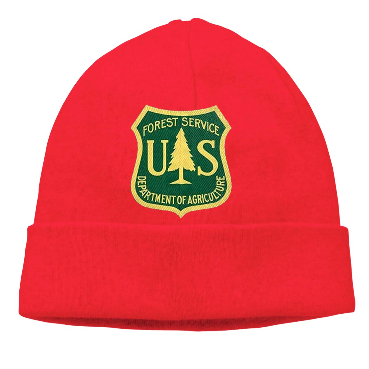 United States Forest Service Unisex Cuffed Plain Skull Knitted Hat Beanie Cap Men Women Black