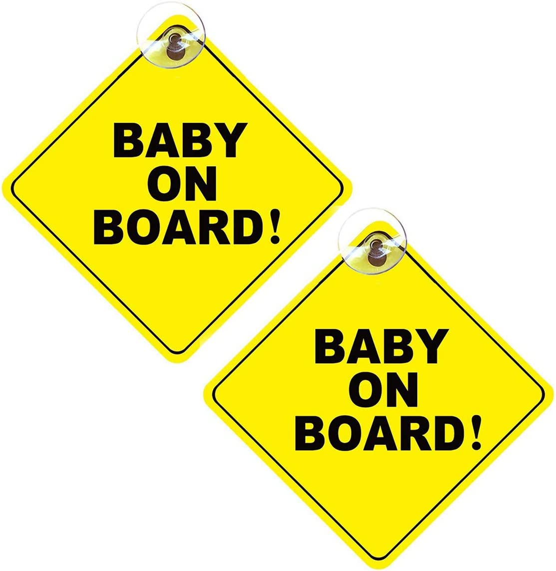 Baby on Board Sign No Fade Car Heat Resistant 2Packs Removable Kids Safety Warning Baby on Board Sticker Sign with Suction Cups for Driver