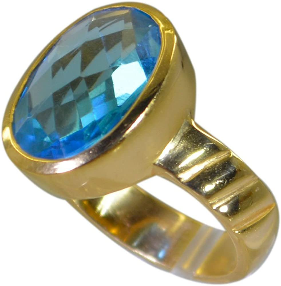 Blue Topaz CZ Gold Plated Ring For Women Gift December Chakra Healing Oval Shape Size 5,6,7,8,9,10,11,12