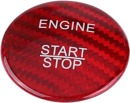 Kimiss Motor Start Stop Taste Abdeckung Trim Carbon Fiber Rot Auto