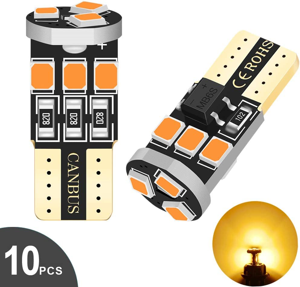 Audak 194 LED Bulb T10 W5W 2825 158 192 168 Canbus 9SMD 2835 Chipset Red Extremely Bright Non-polarity for Car Interior Dome Map Door Courtesy License Plate Trunk Lights Pack of 10