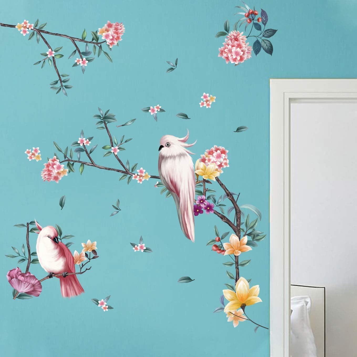 decalmile Pegatinas de Pared Ramas y Pájaros Vinilos Decorativos Flores de Acuarela Adhesivos Pared Salón Dormitorio Oficina Habitación Niña