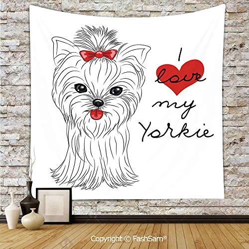 FashSam Tapestry Wall Hanging I Love My Yorkie Cute Terrier with its Tounge Out Adorable Yorkshire Terrier Tapestries Dorm Living Room Bedroom(W59xL78)