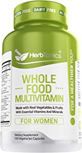 Whole Food Multivitamin for Women with 62 Superfoods, Raw Veggies, Fruits, Probiotic Digestive Enzymes, Vitamin E, A, B Complex, Ginkgo Bilboba, Ceylon Cinnamon, Turmeric, 120 Count